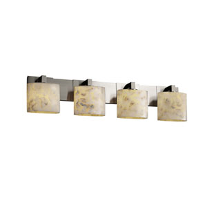 Alabaster Rocks! Modular Four-Light Brushed Nickel Bath Fixture