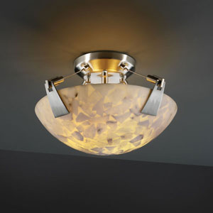 Alabaster Rocks! Tapered Clips 14-Inch Two-Light Brushed Nickel Semi-Flush Bowl With Tapered Clips
