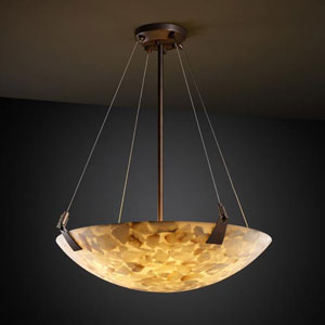 Alabster Rocks! 18-Inch Bowl 3000 Lumen LED Pendant with Tapered Clips