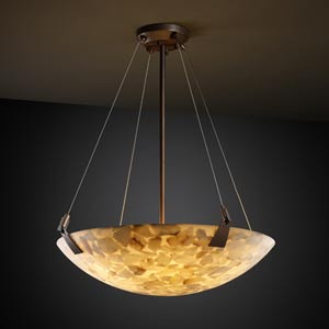 Alabster Rocks! 36-Inch Bowl Pendant with Tapered Clips