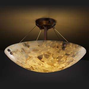 Alabaster Rocks! 21-Inch Semi-Flush Bowl Pendant with Pair Cylindrical Finials