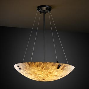Alabster Rocks! 24-Inch Bowl Pendant with Pair Square Points Finials