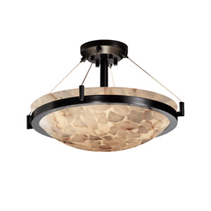 Alabaster Rocks! 18-Inch Round Semi-Flush Bowl Pendant with Ring