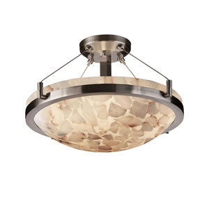 Alabster Rocks! 18-Inch Round Semi-Flush with Ring