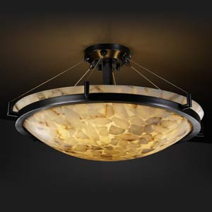 Alabaster Rocks! 24-Inch Round Semi-Flush Bowl Pendant with Dark Bronze Ring