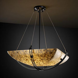 Alabster Rocks! 18-Inch Bowl 3000 Lumen LED Pendant with Crossbar