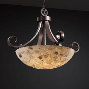 Alabaster Rocks! Scrolls with Finials 18-Inch Three-Light Dark Bronze Pendant Bowl Scrolls With Finials