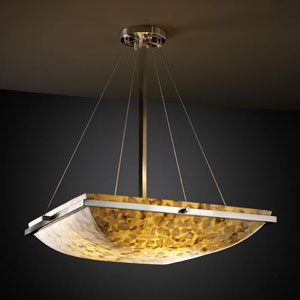 Alabster Rocks! 18-Inch Square Bowl 3000 Lumen LED Pendant with Ring