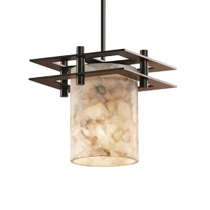 Alabaster Rocks Dark Bronze One-Light Flat Rim Cylinder Mini Pendant with Two Flat Bar