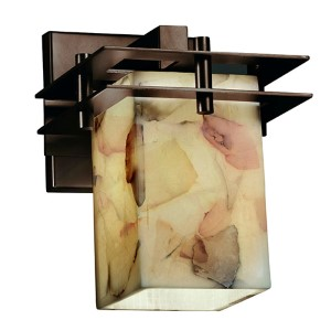 Alabaster Rocks Metropolis Dark Bronze One-Light Flat Rim Square Wall Sconce