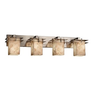 Alabaster Rocks Brushed Nickel Four-Light Bath Bar