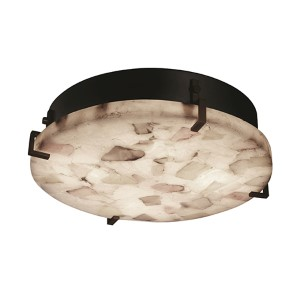 Alabaster Rocks Dark Bronze Two-Light 12-Inch Wide Fluorescent Round Clips Flush Mount