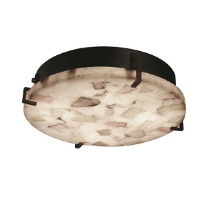 Alabaster Rocks Dark Bronze Four-Light 16-Inch Wide Fluorescent Round Clips Flush Mount