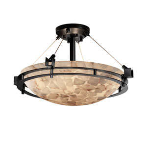Alabaster Rocks Matte Black Three-Light 18-Inch Wide Round Semi-Flush Bowl