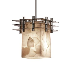 Alabaster Rocks Brushed Nickel One-Light Flat Rim Square Mini Pendant with Three Flat Bar