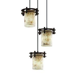 Alabaster Rocks!™  Matte Black Three-Light Pendant