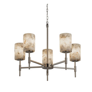Alabaster Rocks! Brushed Nickel 24-Inch LED Chandelier