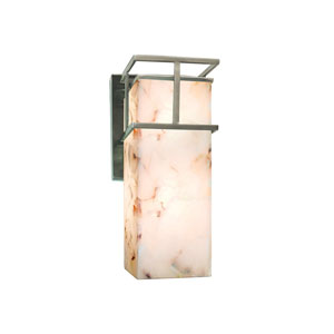 Alabaster Rocks! Brushed Nickel 4.5-Inch Outdoor LED Wall Sconce