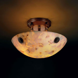 Alabaster Rocks! Finials 14-Inch Two-Light Dark Bronze Semi-Flush Mount With Concentric Circles Finial