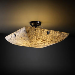 Alabster Rocks! 18-Inch 3000 Lumen LED Semi-Flush Mount with Concentric Circles Finials