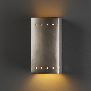 Ambiance Vanilla Gloss Small Rectangle With Perfs Bathroom Wall Sconce