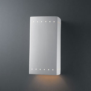 Ambiance Vanilla Gloss Large Rectangle With Perfs Bathroom Wall Sconce