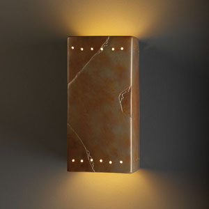 Ambiance Antique Copper Large Rectangle With Perfs Two-Light Bathroom Wall Sconce