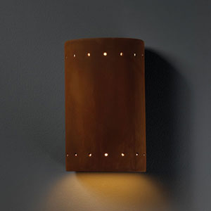 Ambiance Real Rust Small Cylinder With Perfs Bathroom Wall Sconce