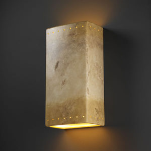 Ambiance Greco Travertine Really Big Rectangle With Perfs Two-Light Bathroom Wall Sconce