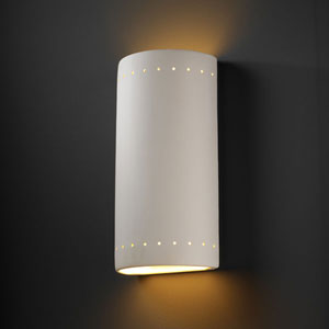 Ambiance Bisque Really Big Cylinder With Perfs Two-Light Outdoor Wall Sconce