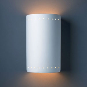 Ambiance Bisque Large Cylinder With Perfs Two-Light Bathroom Wall Sconce