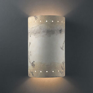 Ambiance Greco Travertine Large Cylinder With Perfs Two-Light Bathroom Wall Sconce