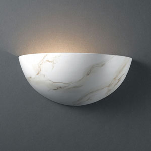 Ambiance Carrara Marble Small Quarter Sphere Bathroom Wall Sconce