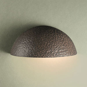 Ambiance Hammered Iron Small Quarter Sphere Outdoor Wall Sconce