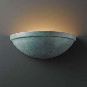 Ambiance Verde Patina Rimmed Quarter Sphere Bathroom Wall Sconce