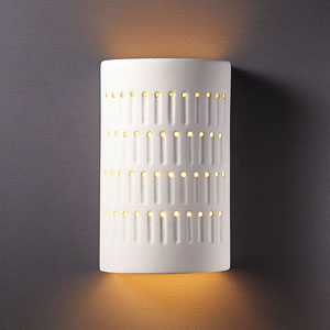Ambiance Bisque Small Cactus Cylinder Bathroom Wall Sconce