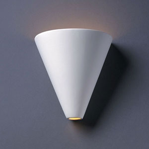 Ambiance Matte White Cut Cone Bathroom Wall Sconce