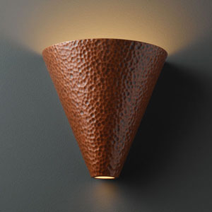 Ambiance Hammered Iron Cut Cone Bathroom Wall Sconce