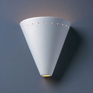 Ambiance Gloss White Cut Cone With Perfs Bathroom Wall Sconce