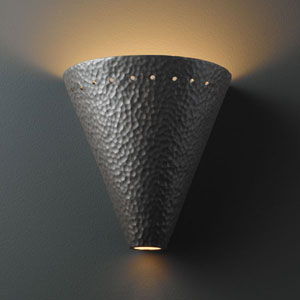 Ambiance Hammered Iron Cut Cone With Perfs Bathroom Wall Sconce