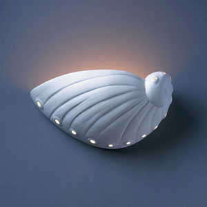 Ambiance Bisque Abalone Shell Bathroom Wall Sconce