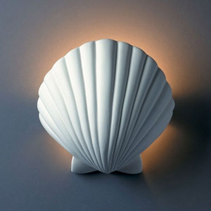 Ambiance Matte White Scallop Shell Bathroom Wall Sconce