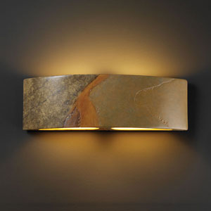 Ambiance Harvest Yellow Slate Arc Two-Light Bathroom Wall Sconce