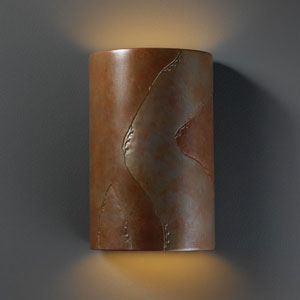 Ambiance Tierra Red Slate Large Cylinder Two-Light Bathroom Wall Sconce