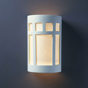 Ambiance Sienna Brown Crackle Large Prairie Window Two-Light Bathroom Wall Sconce