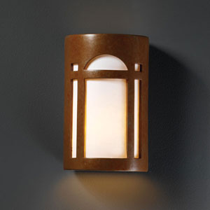 Ambiance Rust Patina Small Arch Window Bathroom Wall Sconce