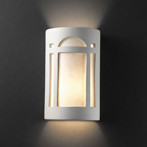 Ambiance Carrara Marble Large Arch Window Two-Light Bathroom Wall Sconce