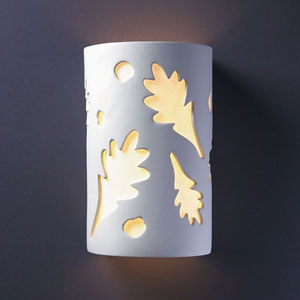 Ambiance Bisque Small Oak Leaves Bathroom Wall Sconce