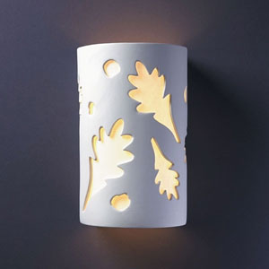 Ambiance Bisque Large Oak Leaves Two-Light Bathroom Wall Sconce