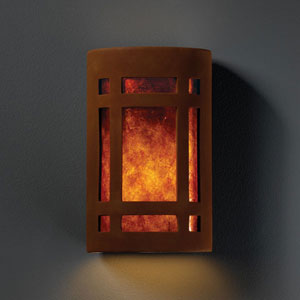 Ambiance Real Rust Small Craftsman Window Bathroom Wall Sconce